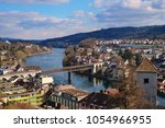 schaffhausen city and rhein... | Shutterstock . vector #1054966955
