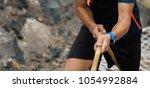 running over obstacles race...   Shutterstock . vector #1054992884