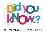 did you know vector letters | Shutterstock .eps vector #1055010644