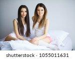 portrait of two beautiful... | Shutterstock . vector #1055011631
