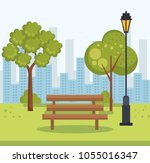 beautiful park landscape scene   Shutterstock .eps vector #1055016347
