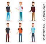 group of men avatars characters | Shutterstock .eps vector #1055016524