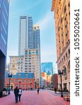 Small photo of Old State House with Financial district, downtown Boston, Massachusetts, the United States. People on the background.