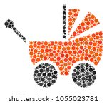 baby carriage collage of dots...   Shutterstock .eps vector #1055023781
