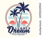 vector design with flamingo... | Shutterstock .eps vector #1055023904