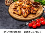 grilled or oven roasted chicken ... | Shutterstock . vector #1055027837