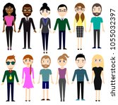set of different people in... | Shutterstock .eps vector #1055032397