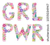 girl power vector print.... | Shutterstock .eps vector #1055034947
