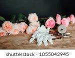 equipment florist on a wooden... | Shutterstock . vector #1055042945