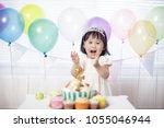 baby girl celebrate her second...   Shutterstock . vector #1055046944