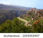 Small photo of Hill town of Bsharri and Qadisha Valley (Kadisha Gorge / Wadi Kadisha / Ouadi Qadisha) Bcharreh, Liban-Nord, Lebanon. City on hill with Saint Saba Cathedral and valley with snow peak of Mount Lebanon.