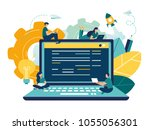 flat vector illustration  young ... | Shutterstock .eps vector #1055056301