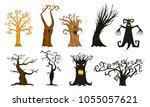 halloween trees  creepy or... | Shutterstock .eps vector #1055057621