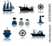 old fashioned sailing ship and... | Shutterstock .eps vector #1055058485