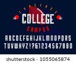 'college campus'  vintage retro ... | Shutterstock .eps vector #1055065874