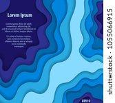 abstract blue cut paper... | Shutterstock .eps vector #1055066915