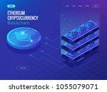 isometric secure global... | Shutterstock .eps vector #1055079071