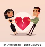 sad unhappy couple man and... | Shutterstock .eps vector #1055086991