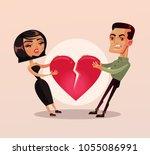 sad unhappy couple man and... | Shutterstock .eps vector #1055086991
