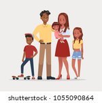 happy family father mother and... | Shutterstock .eps vector #1055090864