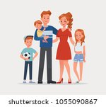 happy family father mother and... | Shutterstock .eps vector #1055090867