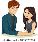 illustration of a teen girl and ... | Shutterstock .eps vector #1055095964