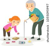 illustration of a stickman kid... | Shutterstock .eps vector #1055095997
