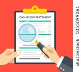 hand holding cash flow... | Shutterstock .eps vector #1055099261