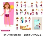 set of girl different lifestyle ... | Shutterstock .eps vector #1055099321