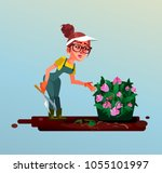 happy smiling young woman... | Shutterstock .eps vector #1055101997
