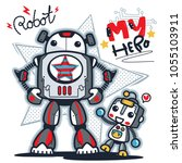 father and son robot cartoon... | Shutterstock .eps vector #1055103911