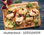 tasty homemade italian... | Shutterstock . vector #1055104559