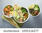 variety of poke bowls with tuna ... | Shutterstock . vector #1055116277