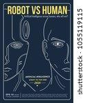 robot vs human industry. ai... | Shutterstock .eps vector #1055119115