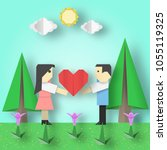 cut scene with couple  big... | Shutterstock .eps vector #1055119325