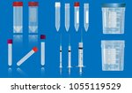 several empty tubes for blood ... | Shutterstock .eps vector #1055119529