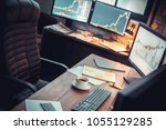 stock trader workplace with... | Shutterstock . vector #1055129285