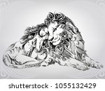 girl and lion in ornament | Shutterstock .eps vector #1055132429