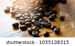 coffee on wooden background | Shutterstock . vector #1055138315
