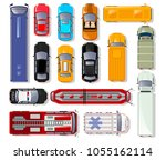 cars and trucks top view... | Shutterstock .eps vector #1055162114