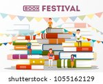 book festival poster with... | Shutterstock .eps vector #1055162129