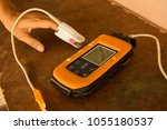pulse oximeter used oxygen... | Shutterstock . vector #1055180537