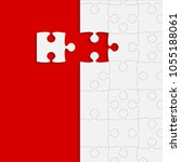 puzzle red background  banner ... | Shutterstock .eps vector #1055188061