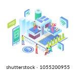 modern isometric smart house... | Shutterstock .eps vector #1055200955