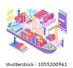modern isometric  global sea... | Shutterstock .eps vector #1055200961