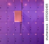 one door of purple locker... | Shutterstock . vector #1055201405