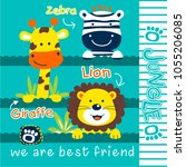 zebra giraffe and lion funny... | Shutterstock .eps vector #1055206085