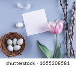easter eggs in nest and tulip... | Shutterstock . vector #1055208581