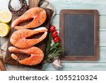 Raw Salmon Fish Steaks With...