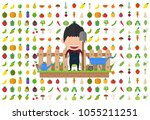 isolated vegetables set fruits... | Shutterstock .eps vector #1055211251